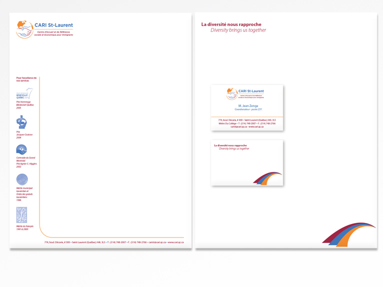 Stationery and business cards for CARI St-Laurent